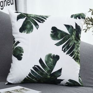 """2 pack: Tropical leaf print pillow cover white 18"""""""